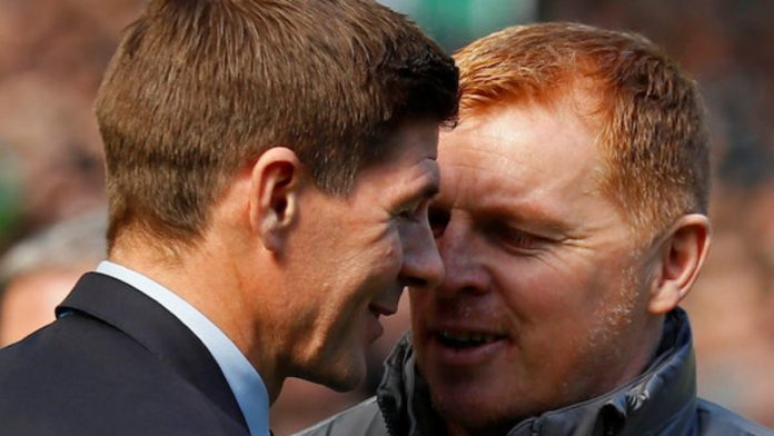 Rangers Manager and Celtic manager embrace