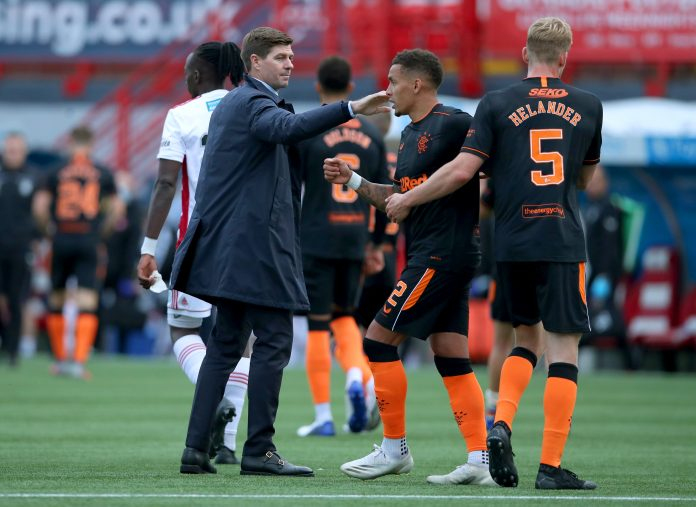 Rangers manager Steven Gerrard greeting the players