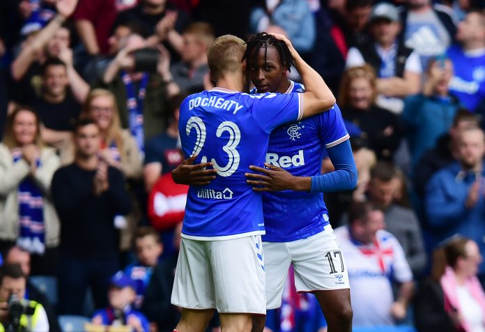 GLASGOW, SCOTLAND - JULY 18: Joseph Aribo of Rangers celebrates scoring the opening goal of the game with Greg Docherty of Rangers during the UEFA Europa League First Qualifying round 2nd Leg match between Rangers and St Joseph at Ibrox Stadium on July 18, 2019 in Glasgow, Scotland.