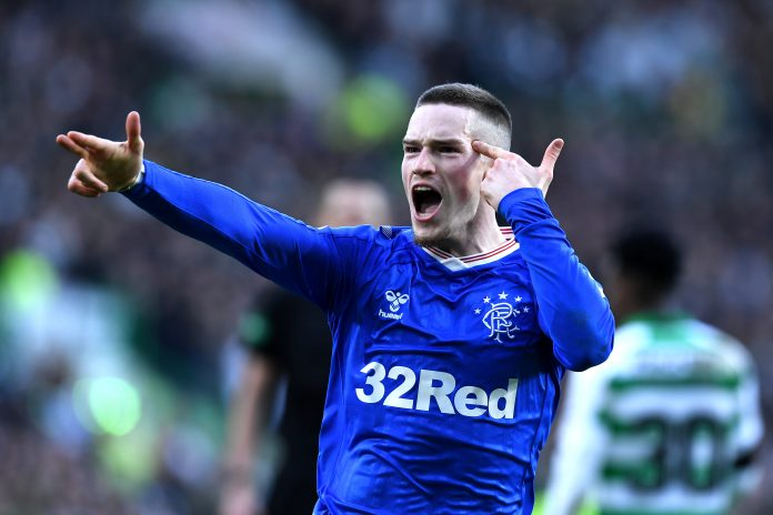 GLASGOW, SCOTLAND - DECEMBER 29: Ryan Kent of Rangers celebrates after scoring his sides first goal during the Ladbrokes Premiership match between Celtic and Rangers at Celtic Park on December 29, 2019 in Glasgow, Scotland.