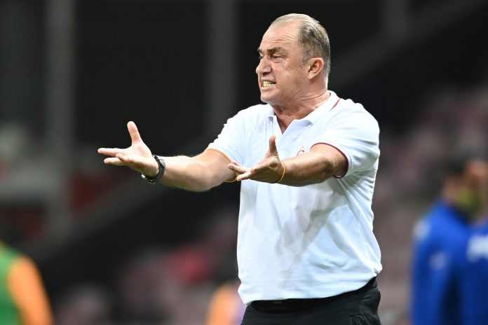Galatasaray's head coach Fatih Terim reacts during the Turkish Super league football match between Galatasaray and Fenerbahce at TT Ali Samiyen sport complex in Istanbul on September 27, 2020.
