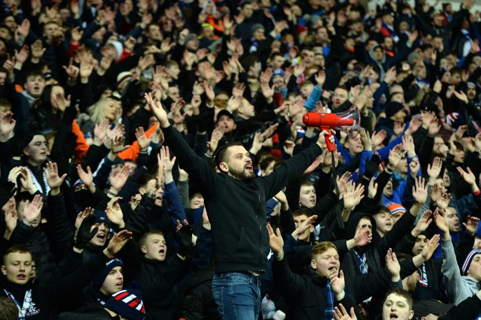 GLASGOW, SCOTLAND - FEBRUARY 20: Rangers fans during the UEFA Europa League round of 32 first leg match between Rangers FC and Sporting Braga at Ibrox Stadium on February 20, 2020 in Glasgow, United Kingdom.