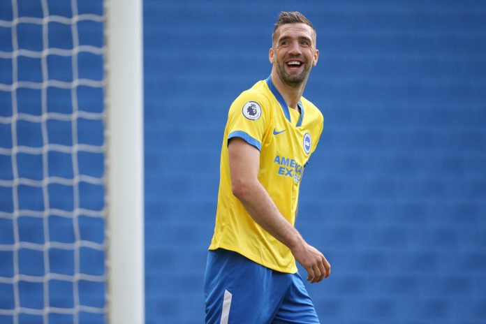 BRIGHTON, ENGLAND - AUGUST 29: Shane Duffy of Brighton and Hove Albion shares a joke with the fans during the pre-season friendly between Brighton & Hove Albion and Chelsea at Amex Stadium on August 29, 2020 in Brighton, England.