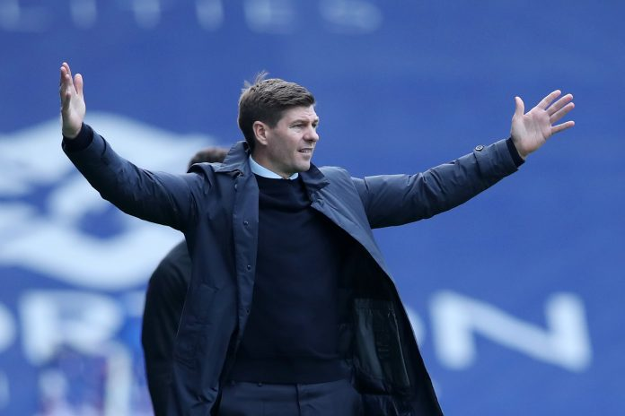 GLASGOW, SCOTLAND - AUGUST 22: Steven Gerrard, Manager of Rangers FC reacts during the Ladbrokes Scottish Premiership match between Rangers and Kilmarnock at Ibrox Stadium on August 22, 2020 in Glasgow, Scotland. (