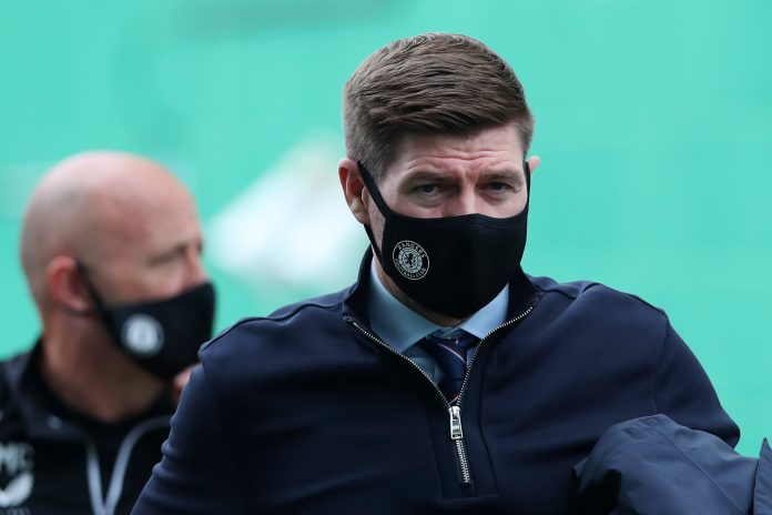 EDINBURGH, SCOTLAND - SEPTEMBER 20: Steven Gerrard, Manager of Rangers arrives at the stadium prior to the Scottish Premiership match between Hibernian and Rangers at Easter Road on September 20, 2020 in Edinburgh, Scotland.