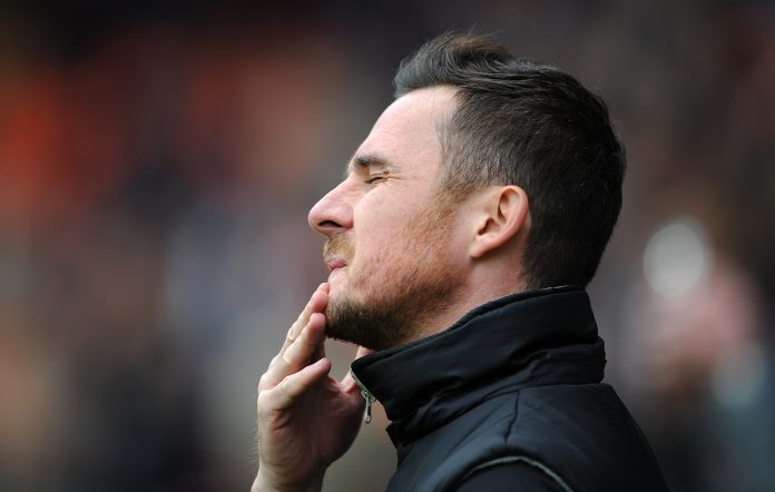 BLACKPOOL, ENGLAND - MAY 03: Blackpool manager Barry Ferguson reacts during the Sky Bet Championship match between Blackpool and Charlton Athletic at Bloomfield Road on May 03, 2014 in Blackpool, England.