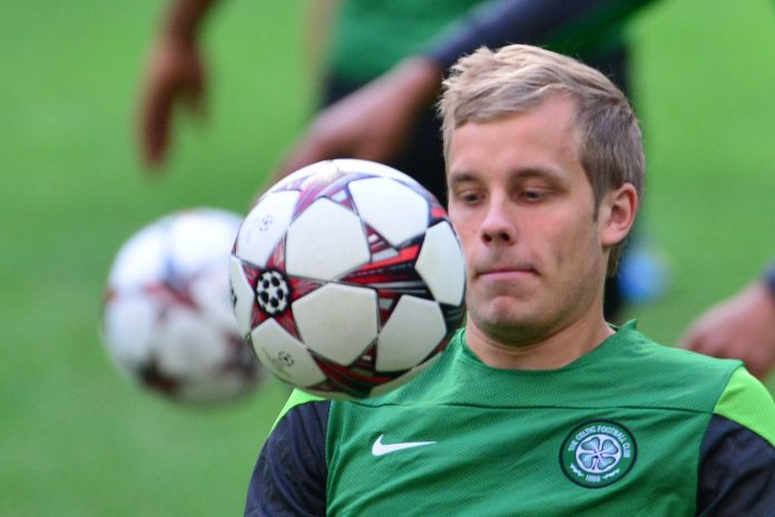 Celtic's Finn forward Teemu Pukki trains on September 17, 2013 at the San Siro Stadium in Milan on the eve of a Champions League Group H football match against AC Milan.