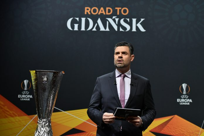 UEFA host Pedro Pinto speaks prior to the UEFA Europa League football cup's round of 16 draw ceremony in Nyon on February 28, 2020.