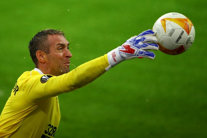 LIEGE, BELGIUM - OCTOBER 22: Goalkeeper, Allan McGregor of Rangers FC in action during the UEFA Europa League Group D stage match between Standard Liege and Rangers at Stade Maurice Dufrasne on October 22, 2020 in Liege, Belgium.
