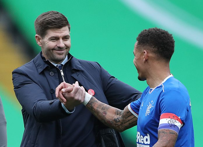 GLASGOW, SCOTLAND - OCTOBER 17: Steven Gerrard, Manager of Rangers interacts with James Tavernier of Rangers during the Ladbrokes Scottish Premiership match between Celtic and Rangers at Celtic Park on October 17, 2020 in Glasgow, Scotland. Sporting stadiums around the UK remain under strict restrictions due to the Coronavirus Pandemic as Government social distancing laws prohibit fans inside venues resulting in games being played behind closed doors.