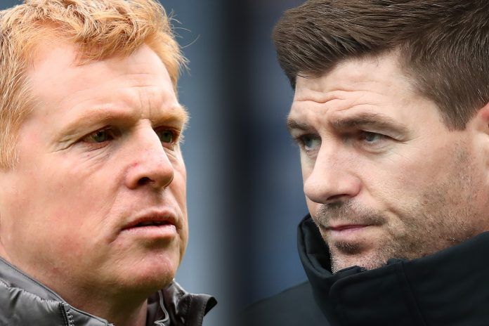 FILE PHOTO (EDITORS NOTE: COMPOSITE OF IMAGES - Image numbers 1142607800, 1125241854 - GRADIENT ADDED) In this composite image a comparison has been made between Neil Lennon the manager of Celtic (L) and Rangers manager Steven Gerrard. Celtic and Rangers meet in a Scottish Premiership fixture on October 17,2020 at Celtic Park in Glasgow, Scotland. ***LEFT IMAGE*** GLASGOW, SCOTLAND - APRIL 14: Neil Lennon the manager of Celtic prior to the Scottish Cup semi-final between Aberdeen and Celtic at Hampden Park on April 14, 2019 in Glasgow, Scotland. (Photo by Ian MacNicol/Getty Images) ***RIGHT IMAGE*** GLASGOW, SCOTLAND - FEBRUARY 16: Rangers manager Steven Gerrard looks on during the Ladbrokes Scottish Premiership match between Rangers and St Johnstone at Ibrox Stadium on February 16, 2019 in Glasgow, Scotland.