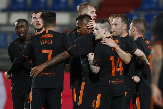 Rangers' players celebrate after the 0-3 goal during the Europa League qualifying round football match between Willem II Tilburg and Rangers FC at the Koning Willem II stadium on September 24, 2020 in Tilburg, Netherlands. (Photo by Jeroen Putmans / ANP / AFP) / Netherlands OUT