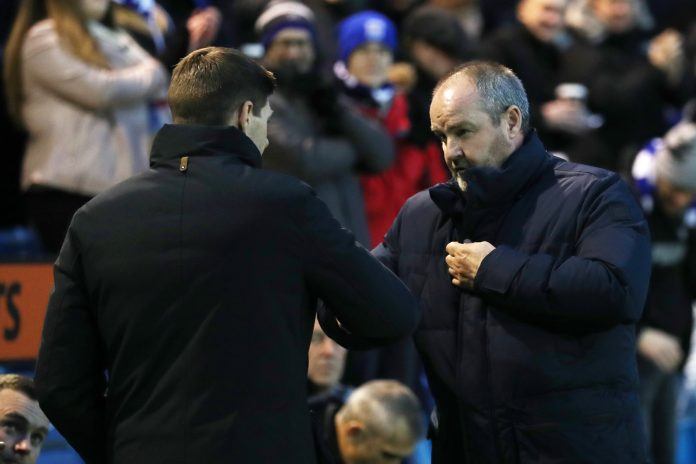 KILMARNOCK, SCOTLAND - FEBRUARY 09: Steven Gerrard, Manager of Rangers shakes hands with Steve Clarke, Manager of Kilmarnock FC prior to the Scottish Cup 5th Round match between Kilmarnock and Rangers at Rugby Park on February 9, 2019 in Kilmarnock, Scotland