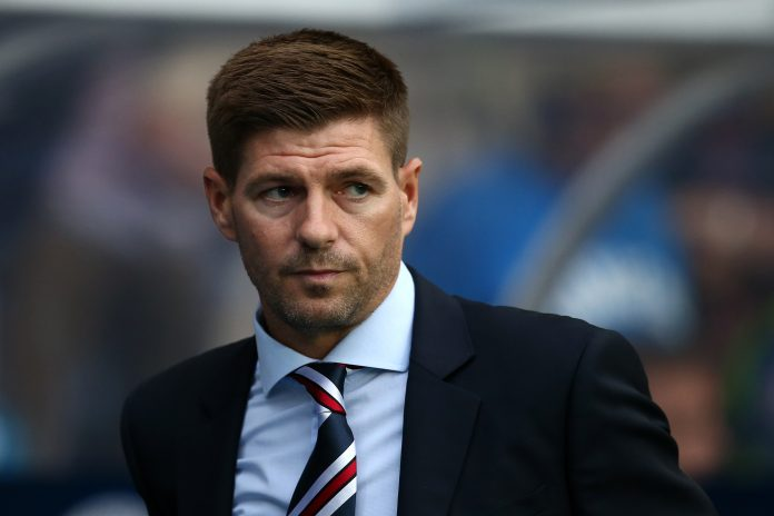 GLASGOW, SCOTLAND - JULY 12: Steven Gerrard manager of Rangers looks on during the UEFA Europa League Qualifying Round match between Rangers and Shkupi at Ibrox Stadium on July 12, 2018 in Glasgow, Scotland.