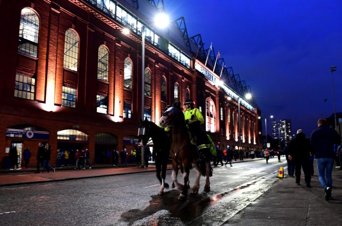 GLASGOW, SCOTLAND - MARCH 12: Police on horseback are seen outside the stadium prior to the UEFA Europa League round of 16 first leg match between Rangers FC and Bayer 04 Leverkusen at Ibrox Stadium on March 12, 2020 in Glasgow, United Kingdom.