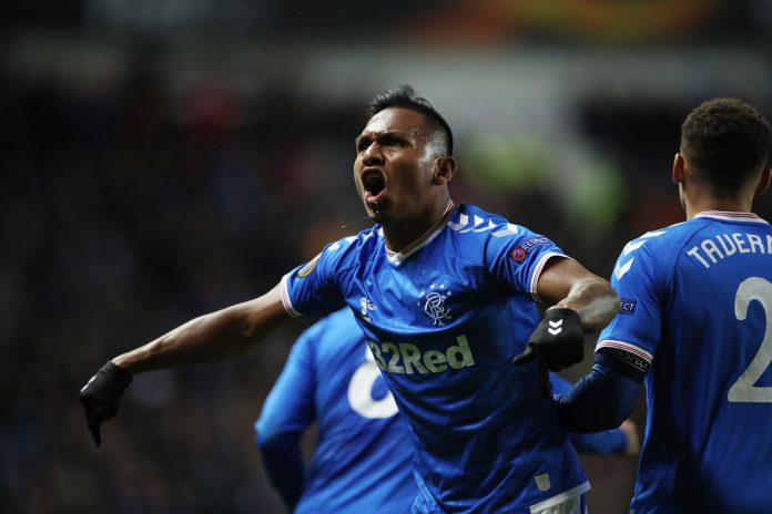 GLASGOW, SCOTLAND - NOVEMBER 07: Alfredo Morelos of Rangers celebrates scoring the opening goal during the UEFA Europa League group G match between Rangers FC and FC Porto at Ibrox Stadium on November 07, 2019 in Glasgow, United Kingdom.