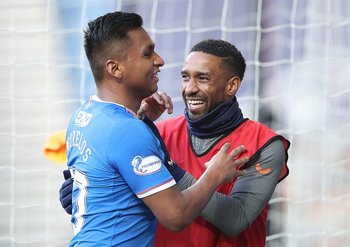 GLASGOW, SCOTLAND - FEBRUARY 21: Alfredo Morelos of Rangers celebrates with Jermain Defoe of Rangers after he scores his sides fourth goal during the Ladbrokes Scottish Premier League match between Rangers and Dundee United at Ibrox Stadium on February 21, 2021 in Glasgow, Scotland. Sporting stadiums around the UK remain under strict restrictions due to the Coronavirus Pandemic as Government social distancing laws prohibit fans inside venues resulting in games being played behind closed doors.