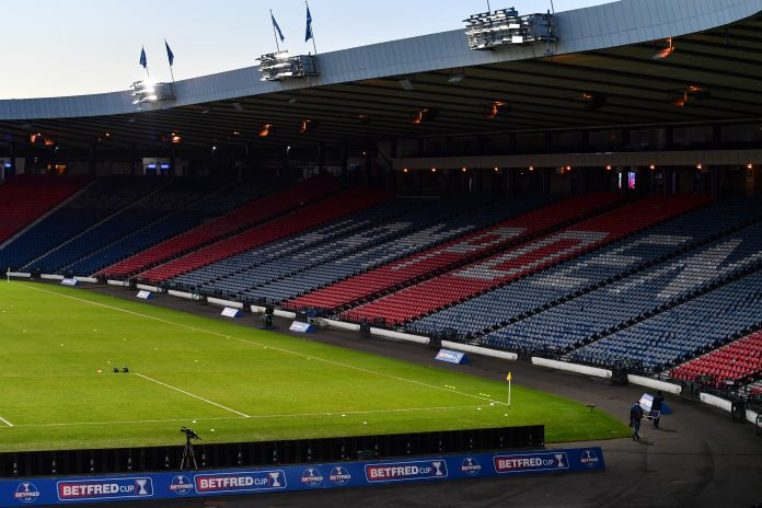 GLASGOW, SCOTLAND - JANUARY 23: A general view inside the stadium prior to the Betfred Cup Semi-Final match between St Johnstone and Hibernian at Hampden Park on January 23, 2021 in Glasgow, Scotland. Sporting stadiums around the UK remain under strict restrictions due to the Coronavirus Pandemic as Government social distancing laws prohibit fans inside venues resulting in games being played behind closed doors.