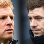 FILE PHOTO (EDITORS NOTE: COMPOSITE OF IMAGES - Image numbers 1142607800, 1125241854 - GRADIENT ADDED) In this composite image a comparison has been made between Neil Lennon the manager of Celtic (L) and Rangers manager Steven Gerrard.