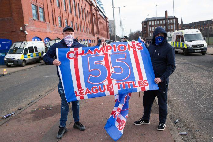 Rangers Celtic champions 55 fans Parkhead Steven Gerrard